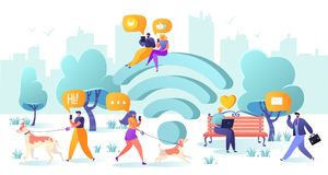 Símbolo, smartphone, dispositivo, projeto liso, portátil, caráter, conexão, conversa, uma comunicação, homem de negócios, convers ilustração stock