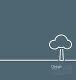 Símbolo sozinho estando da árvore, disposição incorporada do estilo do molde do logotipo ilustração stock
