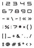 Símbolo terminante de la muestra de número de fuente del alfabeto Imágenes de archivo libres de regalías
