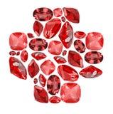 Símbolo transversal da forma das gemas vermelhas do rubi no branco Imagens de Stock