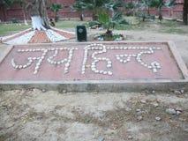 Símbolo trasero del logotipo de Jai Imagenes de archivo