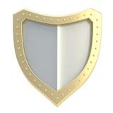 Símbolo tridimensional del escudo aislado Foto de archivo