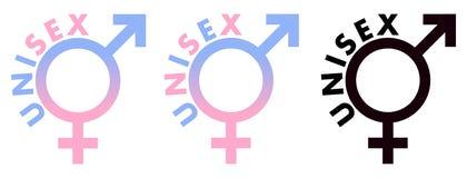 Símbolo unisex Muestra del sexo masculino y femenino combinada, en el rosa azul a stock de ilustración