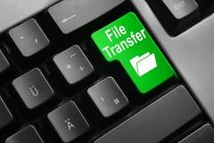 Símbolo verde de la carpeta de la transferencia de archivos del botón del teclado Fotografía de archivo