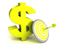 símbolo verde del dólar con la blanco y la flecha de los dardos Imagen de archivo libre de regalías
