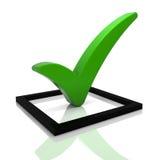 Símbolo verde do tiquetaque Imagem de Stock