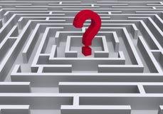 Símbolo vermelho da pergunta no labirinto ilustração royalty free