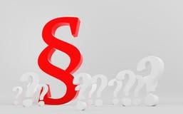 Símbolo vermelho do parágrafo entre pontos de interrogação Fotografia de Stock