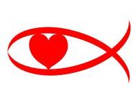 Símbolo vermelho do sinal do coração do amor cristão Imagem de Stock