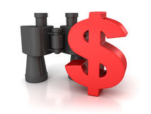 Símbolo vermelho grande do dólar com os binóculos no branco Fotos de Stock Royalty Free