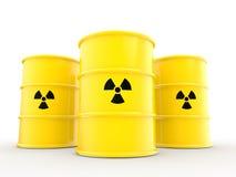 símbolo y barriles de las radiaciones 3d Fotos de archivo