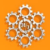Símbolo 7 y 24 de la insignia de la sincronización Foto de archivo libre de regalías