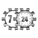 Símbolo 7 y 24 de la sincronización Imagen de archivo libre de regalías