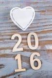 Símbolo y 2016 del amor Imagen de archivo libre de regalías