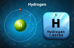 Símbolo y diagrama del electrón para el hidrógeno libre illustration