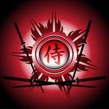 Símbolo y espadas del samurai Imagenes de archivo