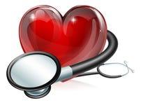 Símbolo y estetoscopio del corazón Imagenes de archivo