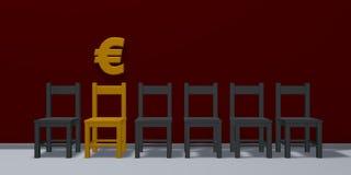 Símbolo y fila de sillas euro Imagen de archivo libre de regalías