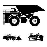 Símbolo y una niveladora y un camión volquete Ilustración del Vector
