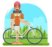 Símbolo ycling da viagem do turismo das férias de verão do planeamento do conceito do estilo de vida da natureza do curso de Fore ilustração stock