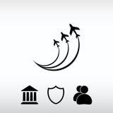 Símbolos ícone do avião, ilustração do vetor Estilo liso do projeto Imagens de Stock