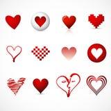 Símbolos/ícones do coração Imagem de Stock