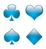 Símbolos 01 de la tarjeta que juega del Aqua Imágenes de archivo libres de regalías