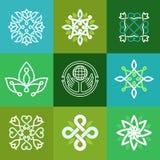 Símbolos abstractos de la ecología del vector - emblemas del esquema Imagen de archivo