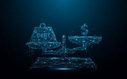 Símbolos abstratos do peso e do dinheiro do débito no ícone da escala das linhas e dos triângulos, rede de conexão do ponto no fu Fotografia de Stock