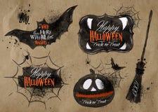 Símbolos ajustados de Dia das Bruxas que rotulam kraft Foto de Stock