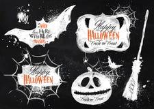 Símbolos ajustados de Dia das Bruxas que rotulam no giz Foto de Stock Royalty Free