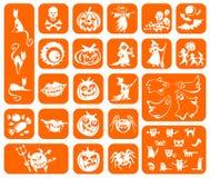 Símbolos alaranjados de Halloween Fotos de Stock Royalty Free