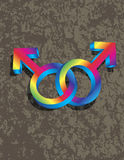 Símbolos alegres masculinos do gênero 3D que bloqueiam Illustrati Fotos de Stock Royalty Free