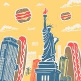 Símbolos americanos arquitectura y fondo de la comida Foto de archivo