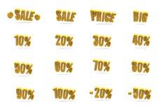 Símbolos anaranjados de la venta y del descuento Imagen de archivo libre de regalías