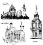 Símbolos arquitectónicos de Londres Fotos de Stock Royalty Free