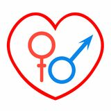 Símbolos astrológicos de Marte y de Venus del amor Ilustración del vector Imagenes de archivo