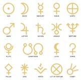 Símbolos astrológicos del planeta stock de ilustración