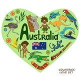 Símbolos australianos en concepto de la forma del corazón Imágenes de archivo libres de regalías