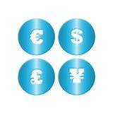 Símbolos azuis do dinheiro de metal Fotos de Stock Royalty Free