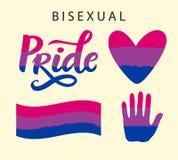Símbolos bisexuales del orgullo LGBT endereza concepto stock de ilustración