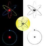 Símbolos blancos y negros del vector del átomo Imagen de archivo libre de regalías