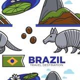 Símbolos brasileños del modelo inconsútil del destino del viaje del Brasil ilustración del vector