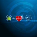Símbolos brilhantes da cardiologia, vida saudável Imagem de Stock