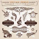 Símbolos caligráficos do vetor do vintage dos elementos Foto de Stock Royalty Free