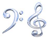 símbolos chaves musicais da prata 3D ou do cromo Fotografia de Stock Royalty Free