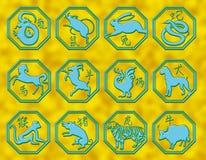 Símbolos chinos de la astrología Foto de archivo