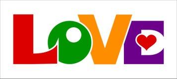 Símbolos coloreados de las letras de amor Imágenes de archivo libres de regalías