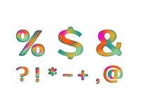 Símbolos coloridos con color iridiscente Imágenes de archivo libres de regalías