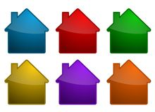 Símbolos coloridos da casa Imagens de Stock